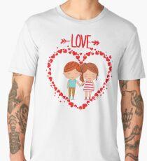 Love romantic t-shirt tee shirt heart boy girl. Men's Premium T-Shirt