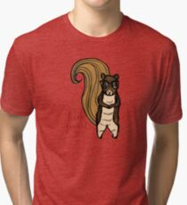 The Nerdy Book Smart Squirrel  Tri-blend T-Shirt
