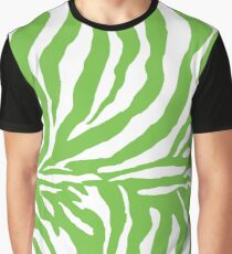 Zebra Print - Lime Green and White Graphic T-Shirt