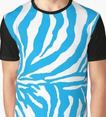 Zebra Print - Sky Blue and White Graphic T-Shirt