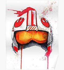 REBEL PILOT HELMET SKYWALKER Watercolor Starwars Poster
