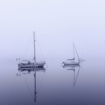 Sailboats on a foggy river. by GraphicEddie