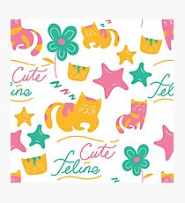 Cute Feline Cartoon Cat Print Photographic Print