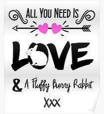 Cute Slogan Love & Fluffy Bunny Rabbit Poster