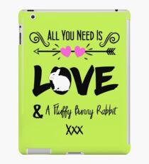 Cute Slogan Love & Fluffy Bunny Rabbit iPad Case/Skin