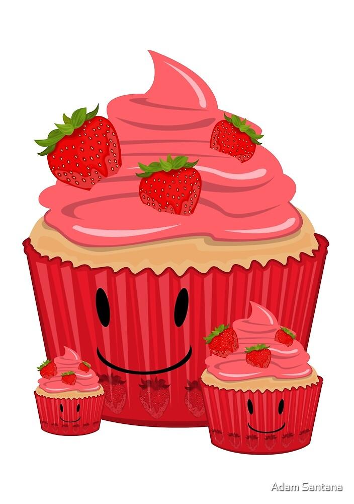 Strawberry Cupcake Family by Adam Santana