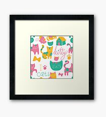 Cute Kitty Cartoon Print Framed Print