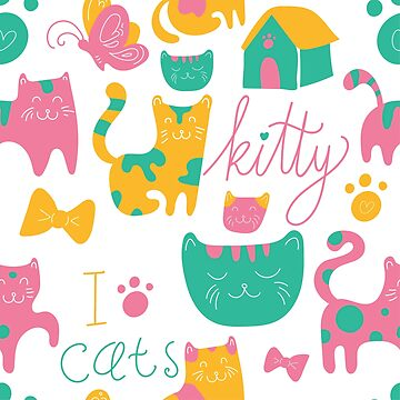 Cute Kitty Cartoon Print by SouthCherry
