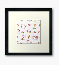 Cartoon Unicorn Print Framed Print