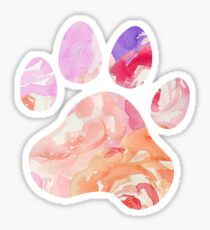 Watercolor Roses Paw Print Sticker