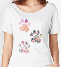 Floral Paw Print Trio Women's Relaxed Fit T-Shirt