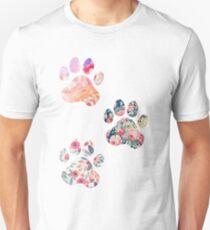 Floral Paw Print Trio Unisex T-Shirt