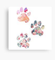 Floral Paw Print Trio Metal Print