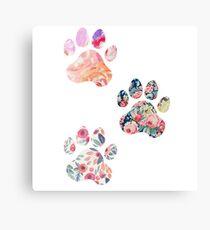 Floral Paw Print Trio Canvas Print