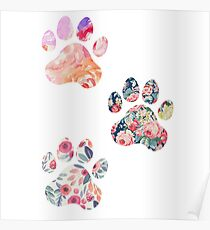 Floral Paw Print Trio Poster