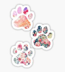 Blumenpfotenabdruck-Trio Sticker