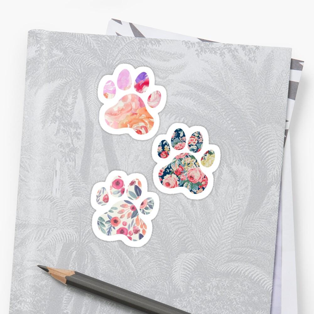 Floral Paw Print Trio by annmariestowe