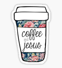 Coffee and Jesus Navy Floral Mug Sticker