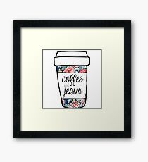 Coffee and Jesus Navy Floral Mug Framed Print