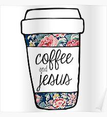 Coffee and Jesus Navy Floral Mug Poster