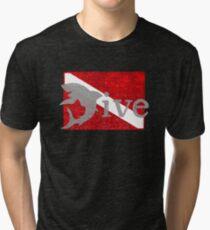 Shark Scuba Dive - Distressed Dive Flag Great White Shark Tri-blend T-Shirt