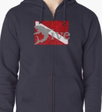 Shark Scuba Dive - Distressed Dive Flag Great White Shark Zipped Hoodie