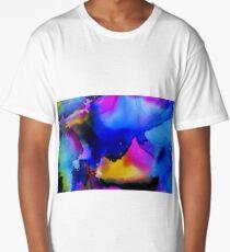 Blue Sun Alcohol Ink Art Long T-Shirt