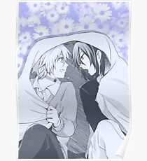No. 6- Nezumi & Shion (pastel purple flower backdrop) Poster
