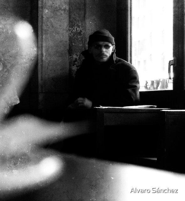 HE WAS PLANNIG HIS NEXT STRIKE WHILE I WAS DRINKING MY MACCHIATO by Alvaro Sánchez