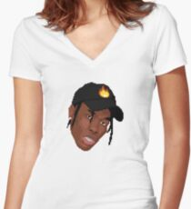 Travis Scott Flame Hat Cartoon Women's Fitted V-Neck T-Shirt