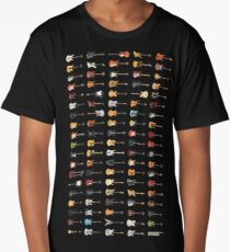 95 Pixel Guitars and Basses and a Keyboard Long T-Shirt