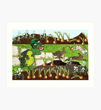 Greeny chases rabbits of his carrot patch ( 844 Views) Art Print