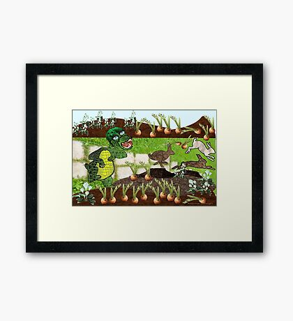 Greeny chases rabbits of his carrot patch ( 827 Views) Framed Print