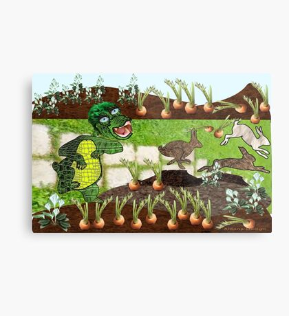 Greeny chases rabbits of his carrot patch ( 844 Views) Metal Print