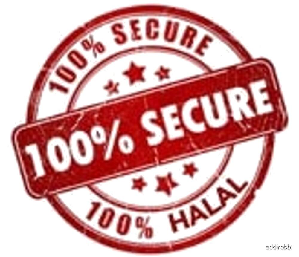 100%, secure, halal, funny, print, stamp by eddirobbi