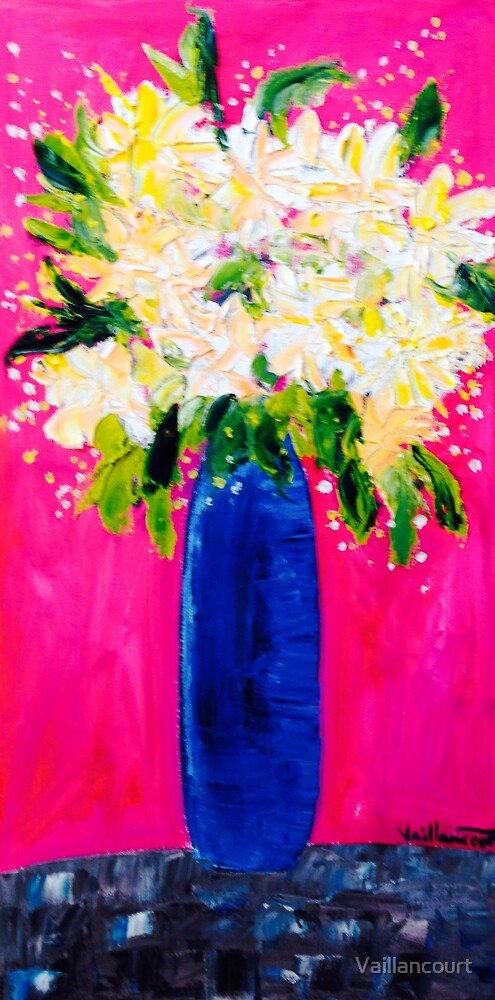 Blue Vase with flowers by Vaillancourt
