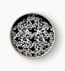 Curlicues Pentagon Black and White Pattern Clock