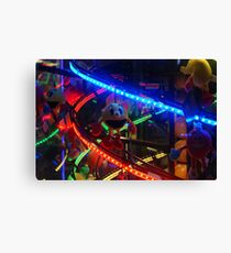 Bright Lights Arcade Machine, Funny Face Soft Toy Canvas Print