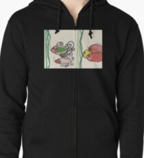 Swirly Fishes in the Sea Zipped Hoodie