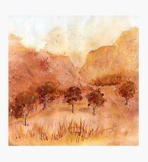 Landscape Watercolour  Painting Limited Palette Photographic Print