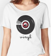 Vinyl record in a flat style design Women's Relaxed Fit T-Shirt