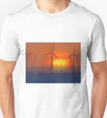 Wind Farms in the Sunset (Digital Art) T-Shirt