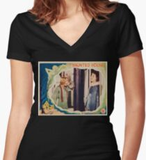 The Haunted House - vintage horror movie poster 1928 Women's Fitted V-Neck T-Shirt