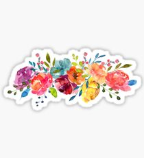 Bright Flowers Summer Watercolor Peonies Sticker