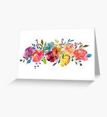 Tarjeta de felicitación Flores brillantes Peonías de acuarela de verano
