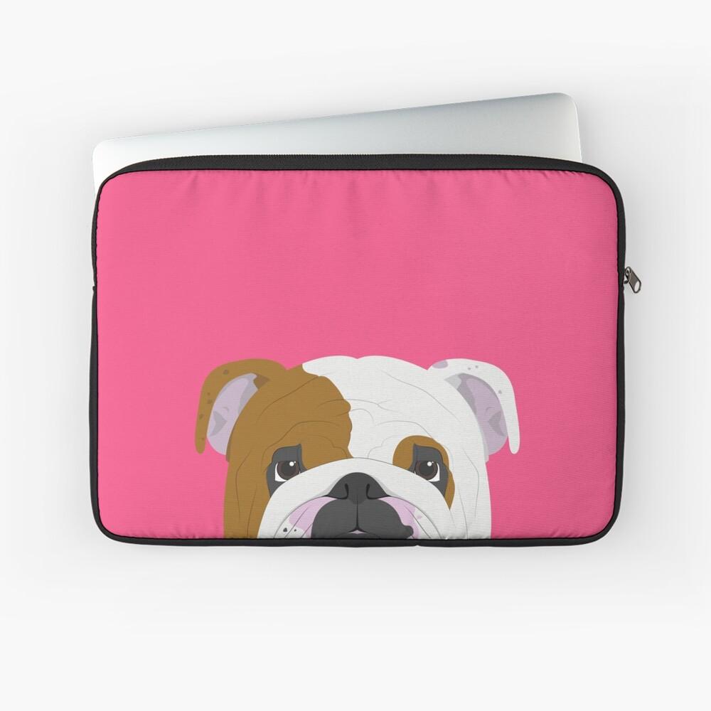 English Bulldog Cute Dog Portrait Illustration Laptop Sleeve