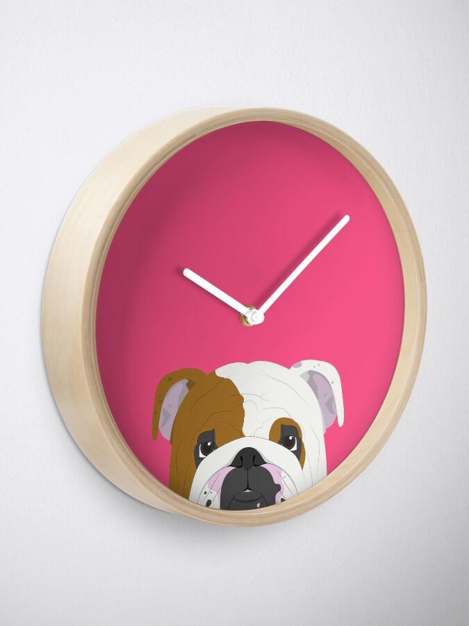 Alternate view of English Bulldog Cute Dog Portrait Illustration Clock