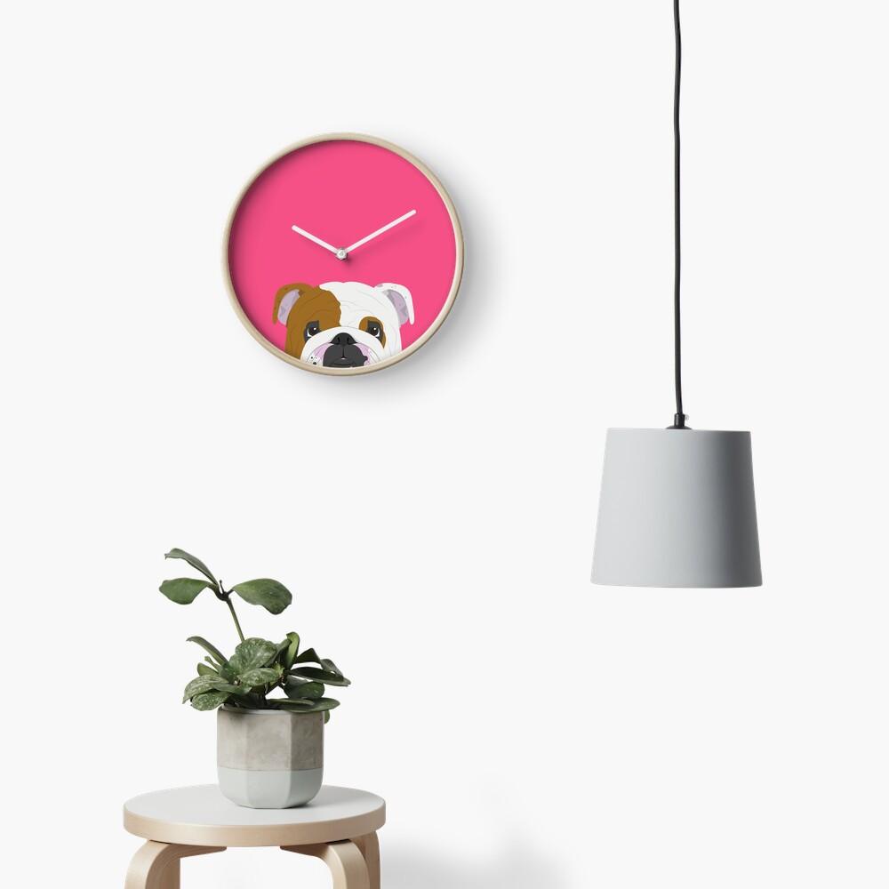 English Bulldog Cute Dog Portrait Illustration Clock