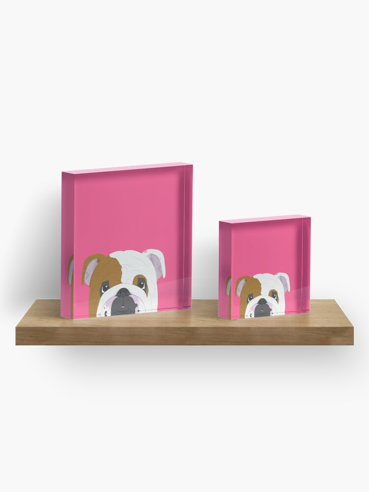 Alternate view of English Bulldog Cute Dog Portrait Illustration Acrylic Block
