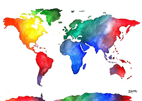 World Map World Map Colorful Travel Watercolor Poster By